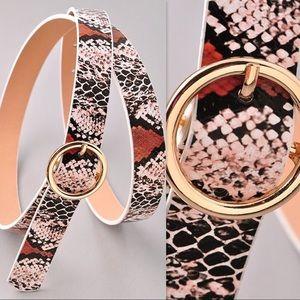 Faux Snake Print belt